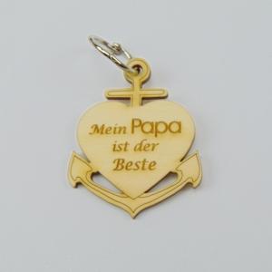 Schlüsselanhänger aus Holz ♥ Mein Papa ist der Beste ♥ Anker mit Herz zum Verschenken  - Handarbeit kaufen