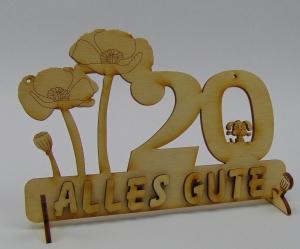 Geburtstagszahl 20 Mohnblume mit Hund oder Katze drauf aus Holz mit Buchstaben Tischdeko 18 cm breit Personalisiert - Handarbeit kaufen