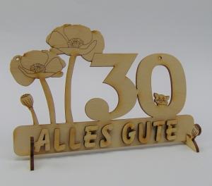 Geburtstagszahl ★ 30 ★ Mohnblume aus Holz mit Hund oder Katze als Tischdeko Personalisiert mit Holzbuchstaben - Handarbeit kaufen