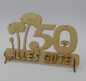 Geburtstagszahl ★ 50 ★ Mohnblume aus Holz mit Hund oder Katze als Tischdeko Personalisiert mit Holzbuchstaben - Handarbeit kaufen