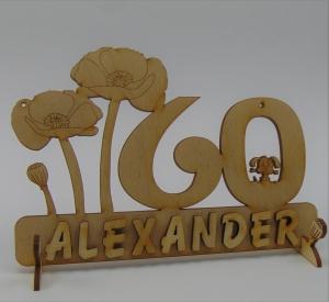 Geburtstagszahl ★ 60 ★ Mohnblume aus Holz mit Hund oder Katze als Tischdeko Personalisiert mit Holzbuchstaben  - Handarbeit kaufen