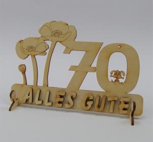 Geburtstagszahl ★ 70 ★ Mohnblume aus Holz mit Hund oder Katze als Tischdeko Personalisiert mit Holzbuchstaben  - Handarbeit kaufen