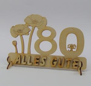 Geburtstagszahl ★ 80 ★ Mohnblume aus Holz mit Hund oder Katze als Tischdeko Personalisiert mit Holzbuchstaben  - Handarbeit kaufen