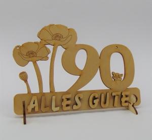 Geburtstagszahl ★ 90 ★ Mohnblume aus Holz mit Hund oder Katze als Tischdeko Personalisiert mit Holzbuchstaben   - Handarbeit kaufen