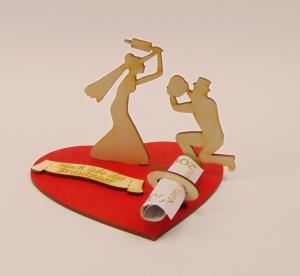 Hochzeits Geldgeschenk  als Tischdeko für Hochzeit oder  Verlobung aus Birkenholz Geldgeschenk  und Gutscheinhalter - Handarbeit kaufen