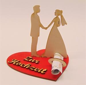 Hochzeits Geldgeschenk  mit Schriftzug zur Hochzeit aus Holz mit Geldscheinhalter und Gutscheinhalter - Handarbeit kaufen
