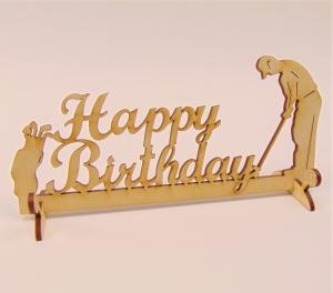 Tischdeko zum Geburtstag aus Birkenholz ,★ Golfspieler ★ Happy Birthday 20 cm breit mit Füßen zum Hinstellen - Handarbeit kaufen