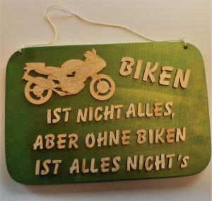 Spruch aus Holz ★ Biken ist nicht alles aber ohne Biken ist alles nichts. ★ Geschenk für Geburtstag Motorradfreunde, Weihnachtsgeschenk, Holzteilchen DIY - Handarbeit kaufen
