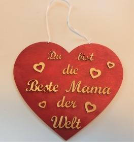 Spruch aus Holz ★ Du bist die beste Mama der Welt ★ in Rotmetallic -Geschenk für Mama Geburtstag, Muttertag, Geschenk - Handarbeit kaufen