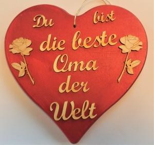 Spruch aus Holz ★ Du bist die beste Oma der Welt ★in Rotmetallic mit 2 Rosen, tolles Geschenk für Mama und Oma, Geburtstag, Muttertag - Handarbeit kaufen