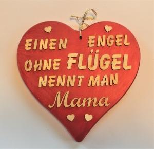 Spruch aus Holz ★ Einen Engel ohne Flügel nennt man Mama ★ in Rotmetallic -Geschenk für Mama und Oma, Geburtstag, Muttertag - Handarbeit kaufen