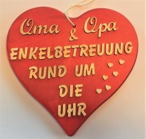 Spruch aus Holz in rot★ Oma  & Opa Enkelbetreuung rund um die Uhr ★ Türschild, Wanddeko, Haustürschild schenken     - Handarbeit kaufen
