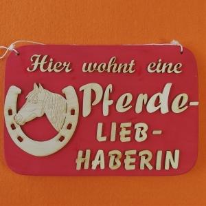 Spruch aus Holz ★ Hier wohnt eine Pferdeliebhaberin ★ Geschenk für jeden Pferdeliebhaber, Geburtstag - Handarbeit kaufen