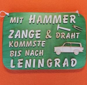 Spruch aus Holz ★ Mit Hammer, Zange und Draht... ★ Geschenk für Jeden, Wanddekoration - Handarbeit kaufen