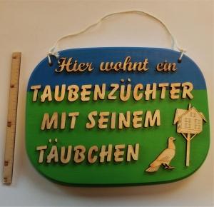 Spruch aus Holz ,★ Hier wohnt ein Taubenzüchter...★ Geschenk zum Geburtstag für Taubenliebhaber  - Handarbeit kaufen