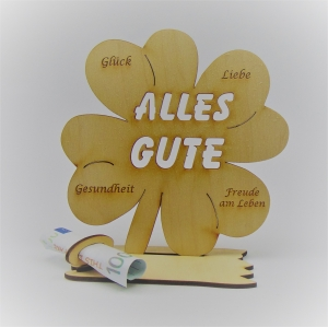 Geldgeschenk Kleeblatt 16 cm Alles Gute,  Herzlichen Glückwunsch  - Handarbeit kaufen