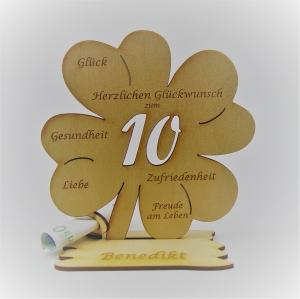 Geldgeschenk Kleeblatt 11 cm aus Holz zum 10. Geburtstag,  Herzlichen Glückwunsch Personalisiert  - Handarbeit kaufen