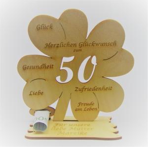 Geldgeschenk Kleeblatt 11 cm aus Holz zum 50. Geburtstag,  Herzlichen Glückwunsch Personalisiert   - Handarbeit kaufen