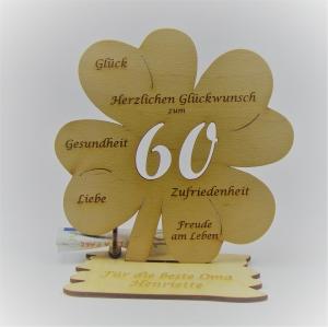 Geldgeschenk Kleeblatt 11 cm aus Holz zum 60. Geburtstag,  Herzlichen Glückwunsch Personalisiert   - Handarbeit kaufen