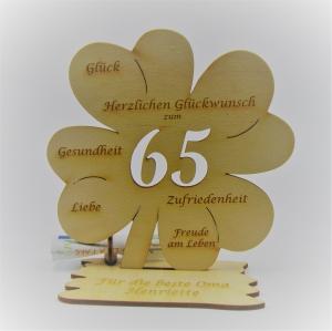 Geldgeschenk Kleeblatt 11 cm aus Holz zum 65. Geburtstag,  Herzlichen Glückwunsch Personalisiert   - Handarbeit kaufen