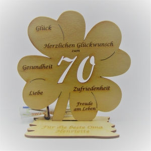 Geldgeschenk Kleeblatt 11 cm aus Holz zum 70. Geburtstag,  Herzlichen Glückwunsch Personalisiert   - Handarbeit kaufen