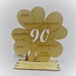 Geldgeschenk Kleeblatt 11 cm aus Holz zum 90. Geburtstag,  Herzlichen Glückwunsch Personalisiert    - Handarbeit kaufen