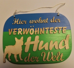 Spruch aus Holz ★ Hier wohnt der verwöhnteste Hund der Welt ★ Geschenk zum Geburtstag, Hund, Liebhaber - Handarbeit kaufen