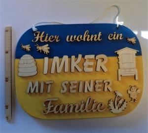 Spruch aus Holz ★ Hier wohnt ein Imker mit seiner Familie ★ Geschenk zum Geburtstag, Imker - Handarbeit kaufen