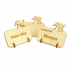 Tischkarte aus Holz mit Elefant Tier Afrika Geburtstag Hochzeit Taufe Kindergeburtstag - kann personalisiert werden - Handarbeit kaufen
