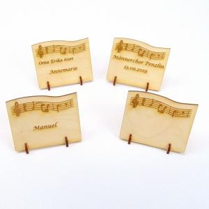 Tischkarte aus Holz mit Noten des Hochzeitsmarsch Namensschild Musik Liebe Geburtstag Hochzeit Taufe Kindergeburtstag - kann personalisiert werden  - Handarbeit kaufen