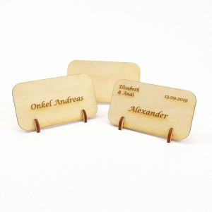 Namensschild, Tischkarte aus Holz für Geburtstag Hochzeit Taufe Kindergeburtstag - kann personalisiert werden  - Handarbeit kaufen