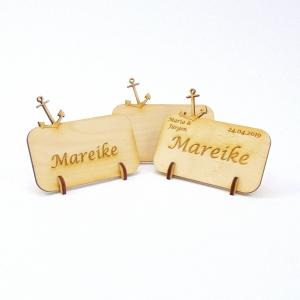 Personalisierte Platzkarte Tischkarte mit Anker aus Holz für ihre Hochzeit, Geburtstag, Taufe, Maritim, Namensschild - Personalisiert - Handarbeit kaufen