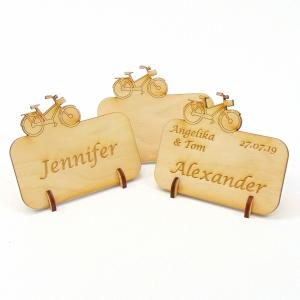 Tischkarte für Fahrradfans Damenrad Platzkarte Namensschild für Festtafel aus Holz - Handarbeit kaufen