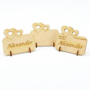 Doppelherz Groß und Klein, Tischkarte für Hochzeit Platzkarte Namensschild für Festtafel aus Holz, für Verliebte, fürs Brautpaar  - Handarbeit kaufen