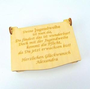 Geldgeschenk zur Jugendweihe mit Personalisierung als Schatulle aus Holz Kiste, für Jungs und Mädchen - Handarbeit kaufen