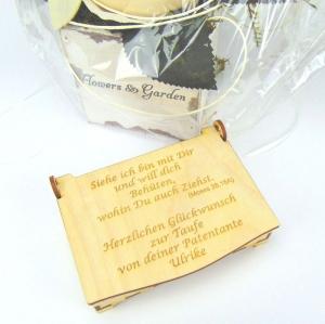 Gutschein oder Geldgeschenk zur Taufe, lustiger Spruch, bleibendes Geschenk, Personalisiert, aus Holz - Handarbeit kaufen