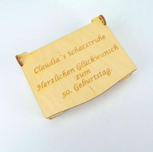 Wunschname Schatztruhe Herzlichen Glückwunsch Geburtstag mit Geburtstagszahl 50 60 63 70 75 Personalisiert, aus Holz - Handarbeit kaufen