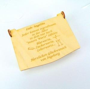 Gutschein oder Geldgeschenk zum 30 40 50 55 60 65 70 75 80  Geburtstag,  Schatzkiste, Personalisiert, aus Holz  - Handarbeit kaufen