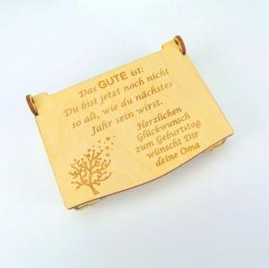 Geburtstags Geldgeschenk Personalisiertes und Graviertes aus Holz Kiste, aus Holz siehe Bilder - Handarbeit kaufen