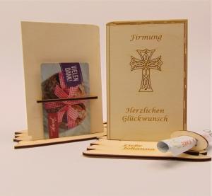 Personalisiertes Geldgeschenk zur Firmung Gebetbuch aus Holz mit  Gutscheinhalter Holzteilchen DIY  - Handarbeit kaufen