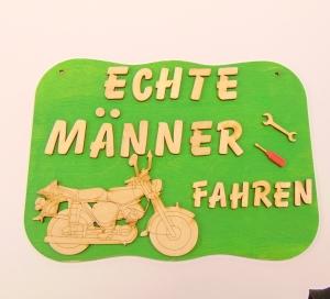 Spruch aus Holz ★Echte Männer fahren Motorrad ★ Geschenk für jeden Anlass Sonderpreis   - Handarbeit kaufen