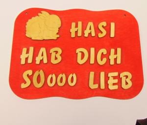 Spruch aus Holz mit Holzbuchstaben ★ Hasi hab dich soooo lieb ★ Geschenk für jeden Anlass, Sonderpreis - Handarbeit kaufen