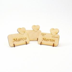 kleines Herz Tischkarte Namensschild aus Holz für Hochzeit, Geburtstag, Valentinstag, Verlobung - Handarbeit kaufen
