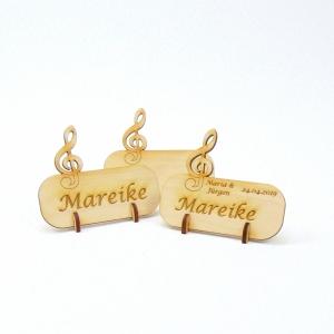 Notenschlüssel Tischkarte Namensschild aus Holz für Hochzeit, Geburtstag, Musiker, Festival, Chor - Handarbeit kaufen