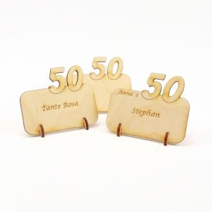 Tischkarte mit Zahl 50, Platzkarte Namensschild für Festtafel aus Holz, 50 Geburtstag  - Handarbeit kaufen