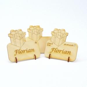 Tischkarte Geschenk für Weihnachtstafel Namensschild Weihnachtlich aus Holz  - Handarbeit kaufen