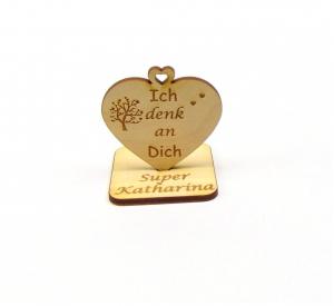 Ich denk an Dich ♥ kleine Aufmerksamkeit ♥ Geschenk für Freunde, Familie, Personalisiert mit Herzbaum - Handarbeit kaufen