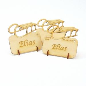 Tischkarte Schlitten für Weihnachtstafel Namensschild Weihnachtlich aus Holz  - Handarbeit kaufen
