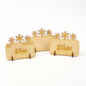 Tischkarte Schneeflocken für Weihnachtstafel Namensschild Weihnachtlich aus Holz  - Handarbeit kaufen