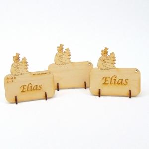 Tischkarte Schneemann mit Tanne für Weihnachtstafel Namensschild Weihnachtlich aus Holz - Handarbeit kaufen